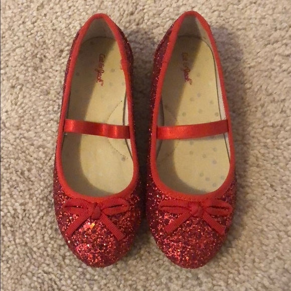 Cat Jack Red Glitter Ballet Flats